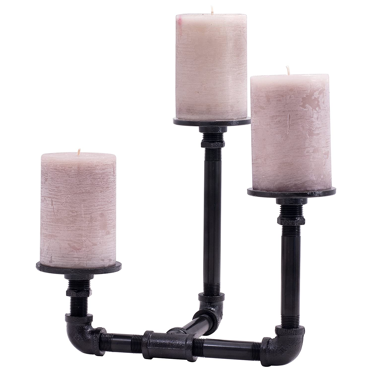PIPE DÉCOR Industrial 3 Branch Pillar Candle Holder Complete Set Electroplated Black Finish - 38CNPL4-BK- Rustic and Chic Steampunk
