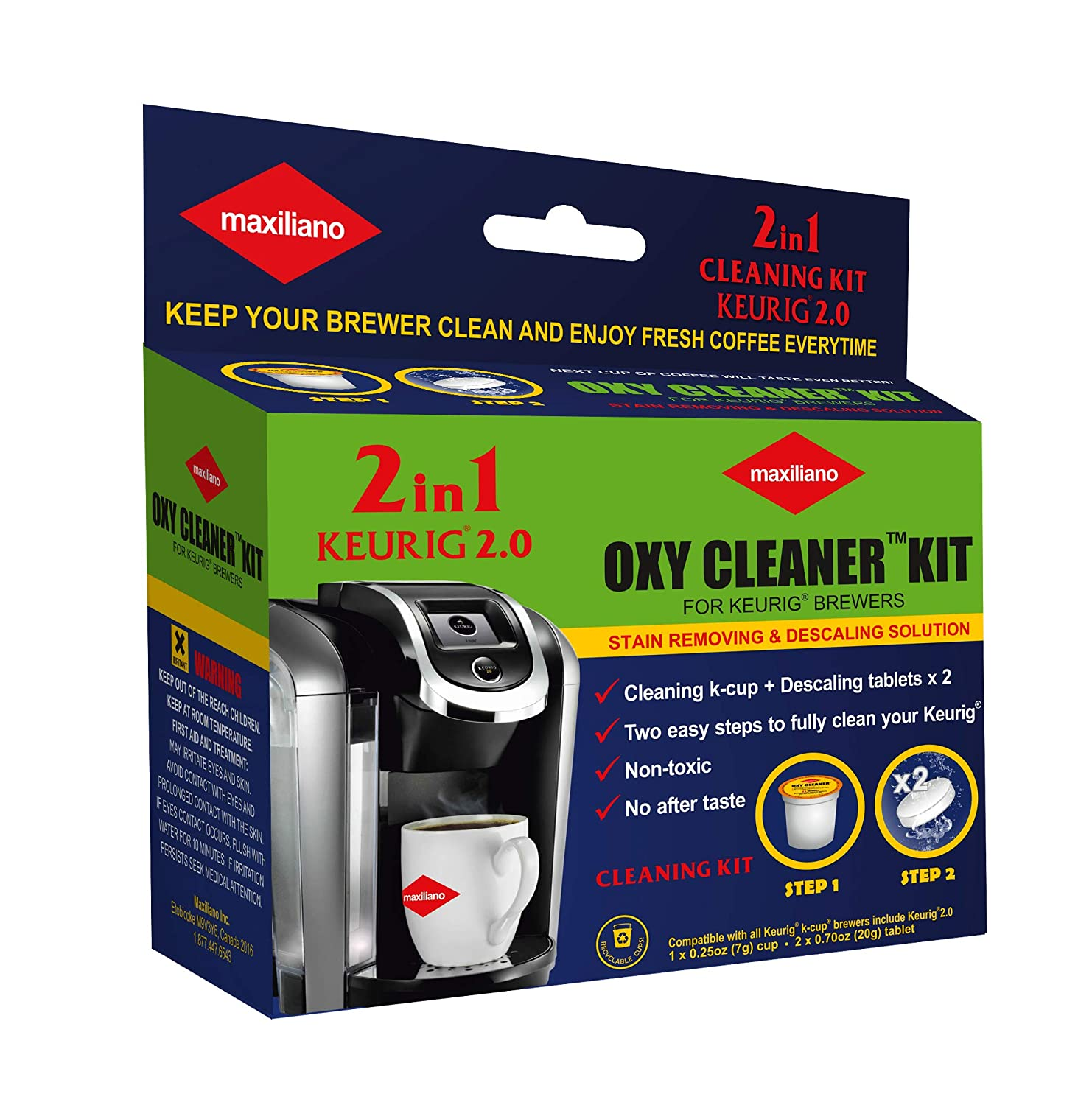 Maxiliano Oxy Cleaner Kit 2 in 1 Professional Descaling For All K-Cup Keurig 2.0 Brewers, Biodegradable, Full Cycle Cleaning and Descaler Solution 81gQcKKzzSL
