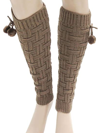 344bfaa39cf Amazon.com  Cable Knit Leg Warmers Ribbed w Ball Crochet Legging Long Boot  Socks