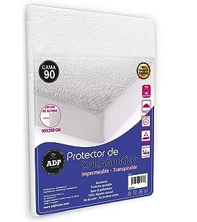 ADP Home - Protector de colchón Tejido Rizo Algodón Natural Impermeable, Absorbente y Transpirable con