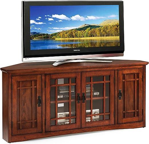 Stylish Functional Corner Oak Finish TV Stand with Two Adjustable Shelves