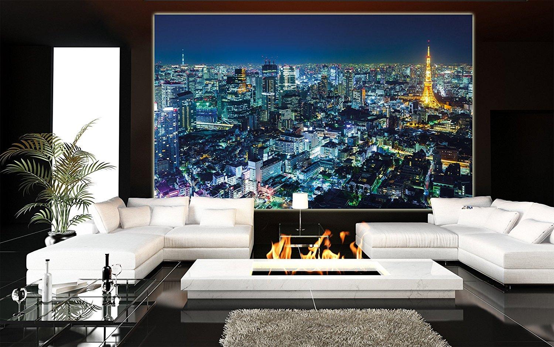 Foto mural Tokio Ciudad Mural Decoración Contorno de noche Metrópolis Torre de Tokio Panorama Foto Japón Deco Mega ciudad Viajar I foto-mural foto ...