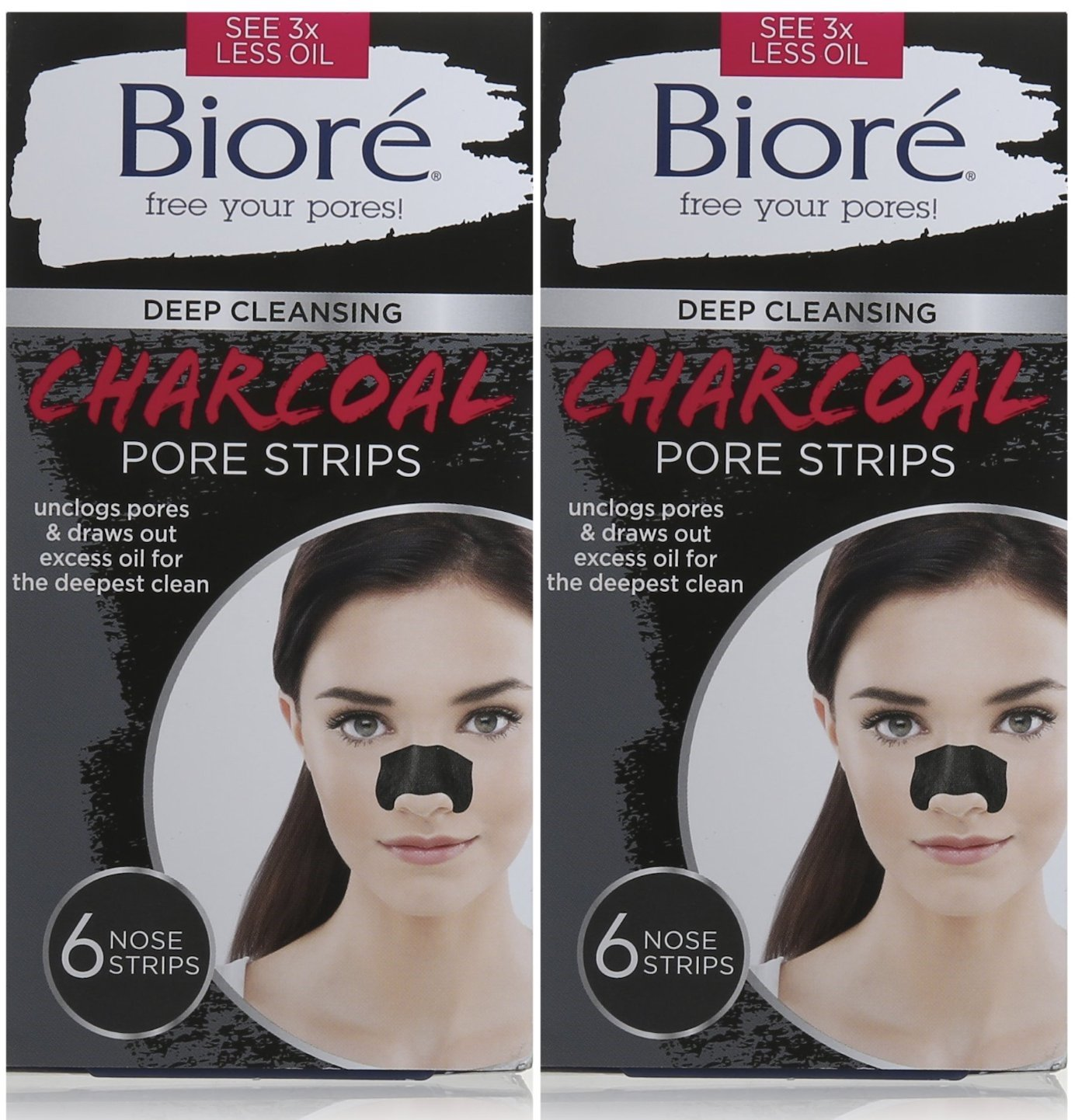 Biore Deep Cleansing Pore Strips, Charcoal, 6 Count (Pack of 2) 6 Count (Pack of 2) Bioré