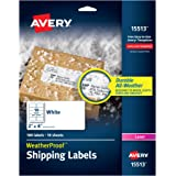 "Avery WeatherProof Mailing Labels with TrueBlock Technology for Laser Printers 2"" x 4"", Pack of 100 (15513)"