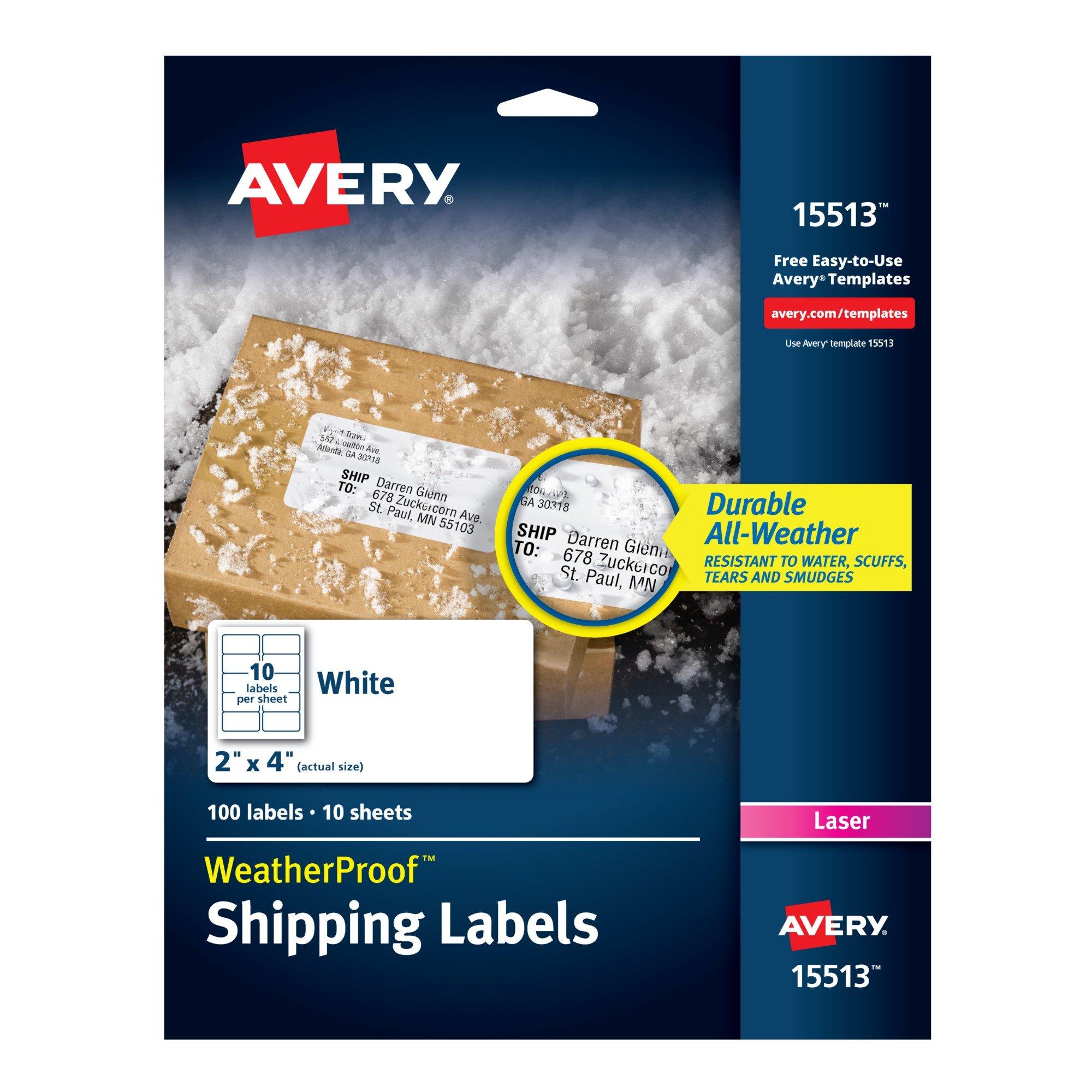 Amazon Avery Weatherproof Mailing Labels With Trueblock