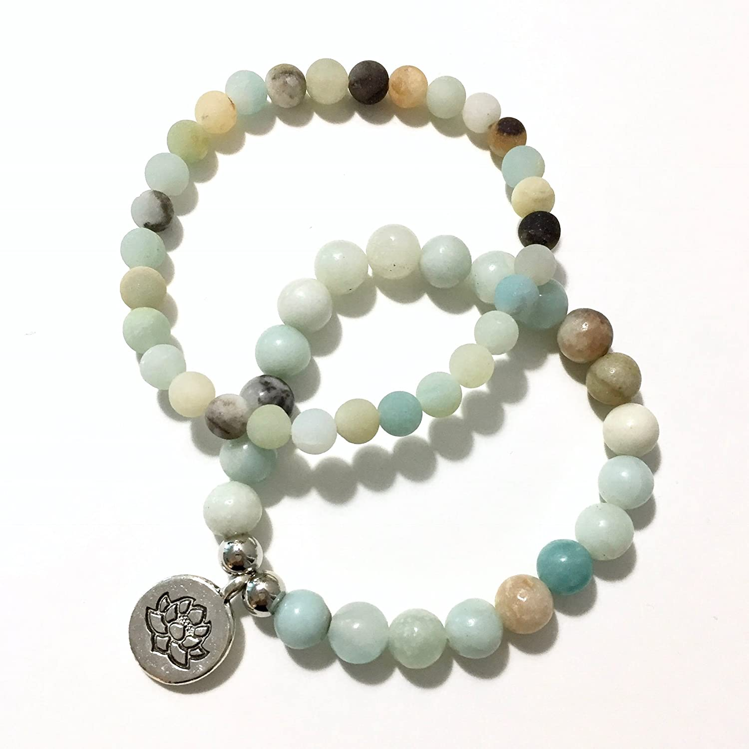 Set of 2 Amazonite and Silver Mala Bracelets with Lotus Flower Charm