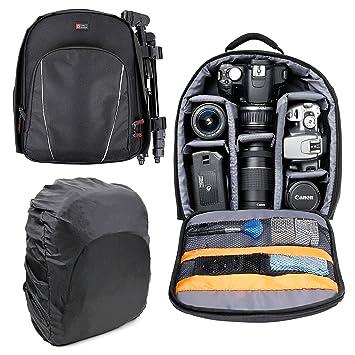DURAGADGET Mochila para Cámaras DSLR/SLR Canon | Nikon | Sony | Olympus + Funda Impermeable