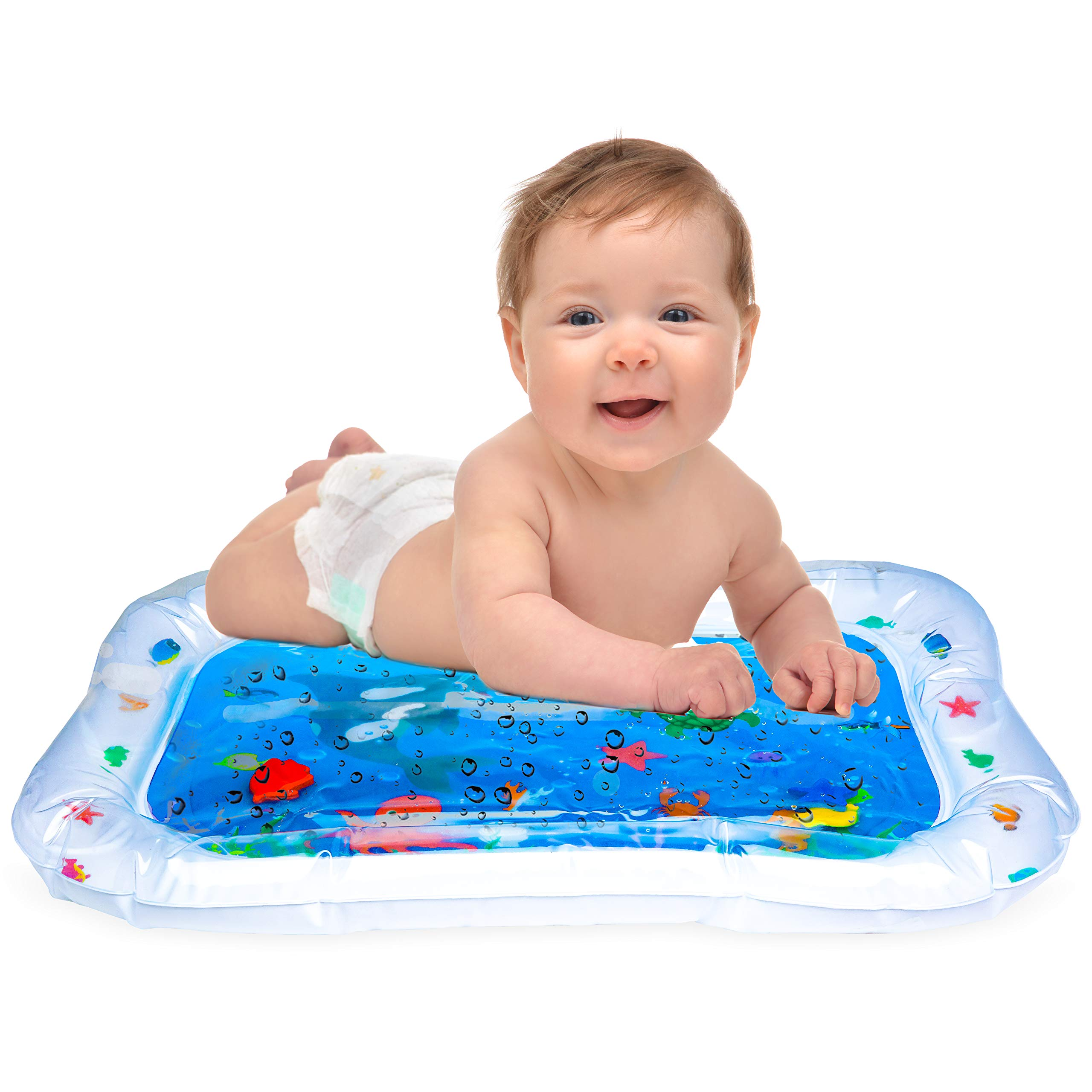 Hoovy Baby Inflatable Water Play Mat: Fun, Indoor & Outdoor Pad for Babies & Infants   Great Tummy Time Activity, Promotes Visual Stimulation, Movement & Motor Skills   Easy to Inflate & Deflate