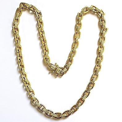 1289ca0959e72 Amazon.com: modern 14K Gold Plated ICED Out CZ Hermes Link Hip HOP ...
