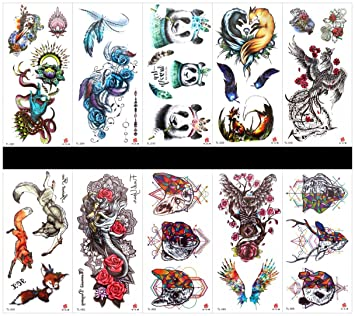 Amazon.com: Grashine 10pcs tattoo panda fake tattoos that look real ...