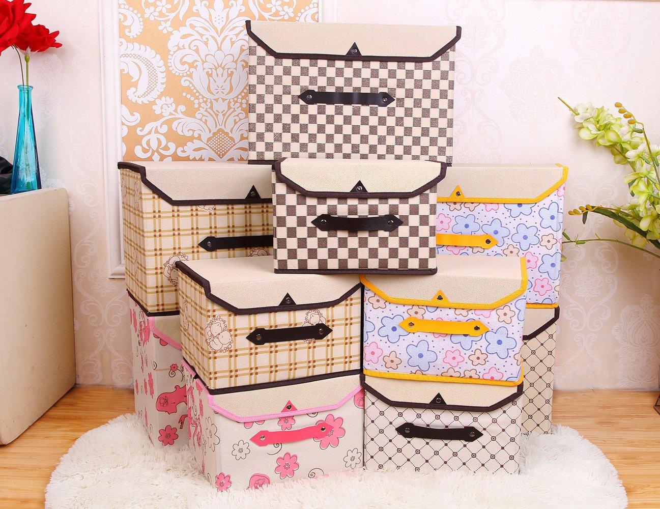 HAKACC Fabric Storage Bin,Simple and Stylish,Grid Design,Beige(Set of 2)