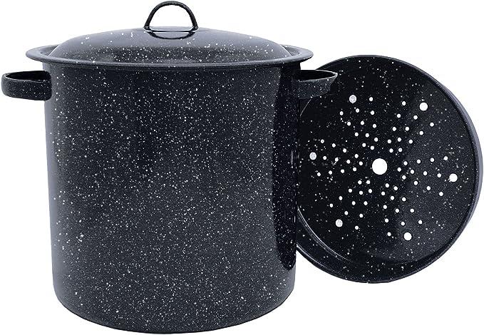 4-Quart Granite Ware Stock Pot with Steamer Insert