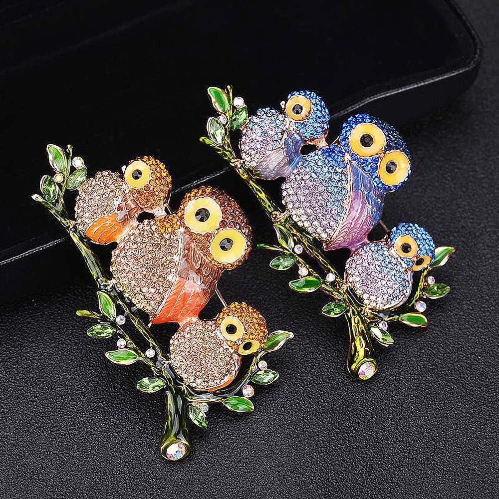 Blue QTKJ Three Cute Crystal Owls Brooch Vintage Rhinestone Animal Pin Jewelry Gifts