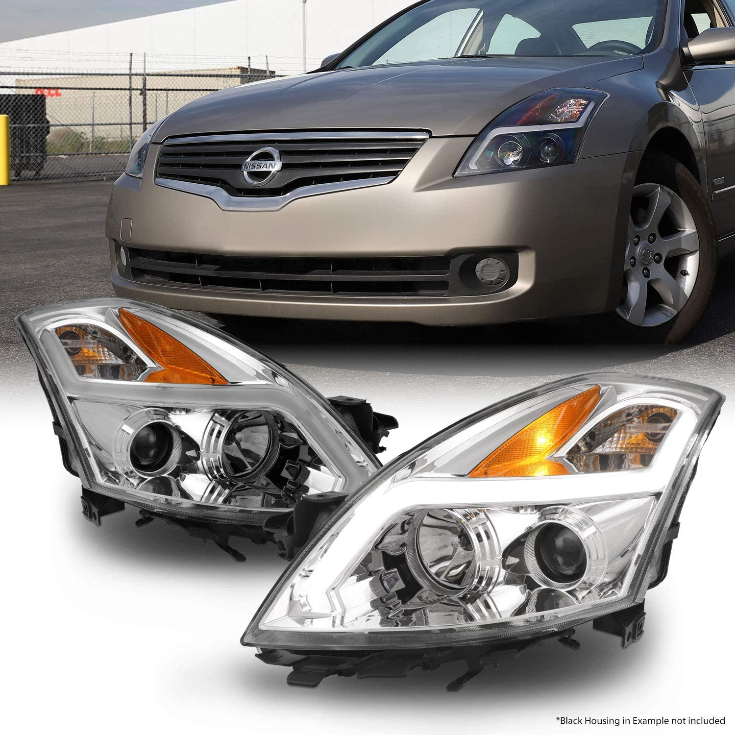Driver and Passenger Side For 2007-2009 Nissan Altima 4-Door Sedan Headlights Replacement Black Housing with Amber Reflector Clear Lens One-Year Warranty