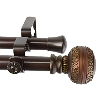 rod desyne ornament double window curtain rod set 120 to 170inch cocoa