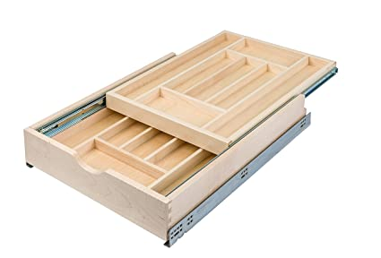 Century Components DTIER17PF FF Wood Silverware Tray Cabinet Drawer  Organizer   Double Tier 17
