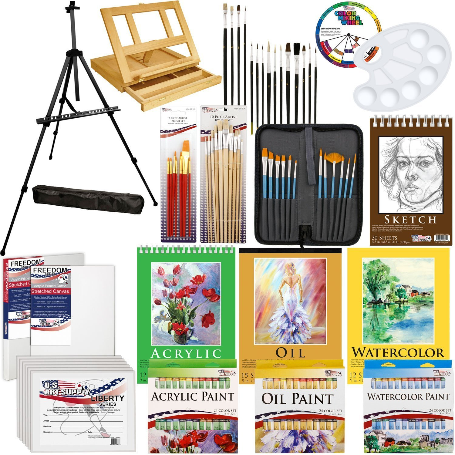 US Art Supply 133pc Deluxe Artist Painting Set with Aluminum and Wood Easels, Paint and Accessories KIT-ALL-D130