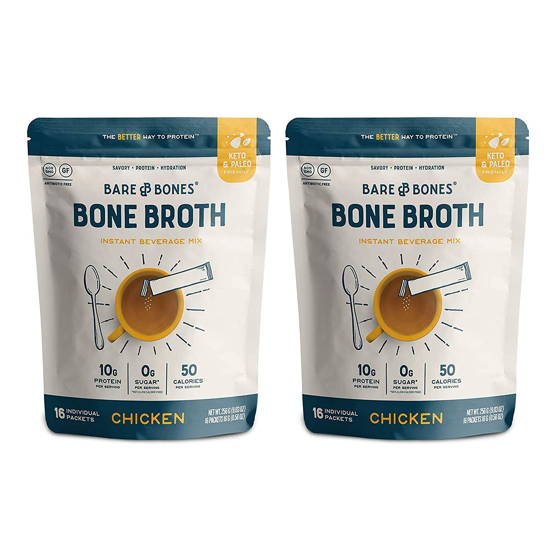 Bare Bones Bone Broth Instant Powdered Beverage Mix, Chicken, 10g Protein, Keto & Paleo Friendly, 15g Sticks, Pack of 32 Servings