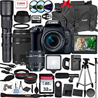 Canon Eos Rebel T7i DSLR Camera 24.2MP with 18-55mm & EF 75-300mm + 500mm Preset Lens & 32GB Memory Card, Canon Gadget Bag 2400, LED Light, Tripod, Wireless Remote, Grip Strap & More