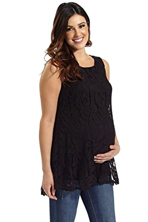 dff42c4153e02 Image Unavailable. Image not available for. Color  PinkBlush Maternity  Black Lace Maternity Tank Top ...
