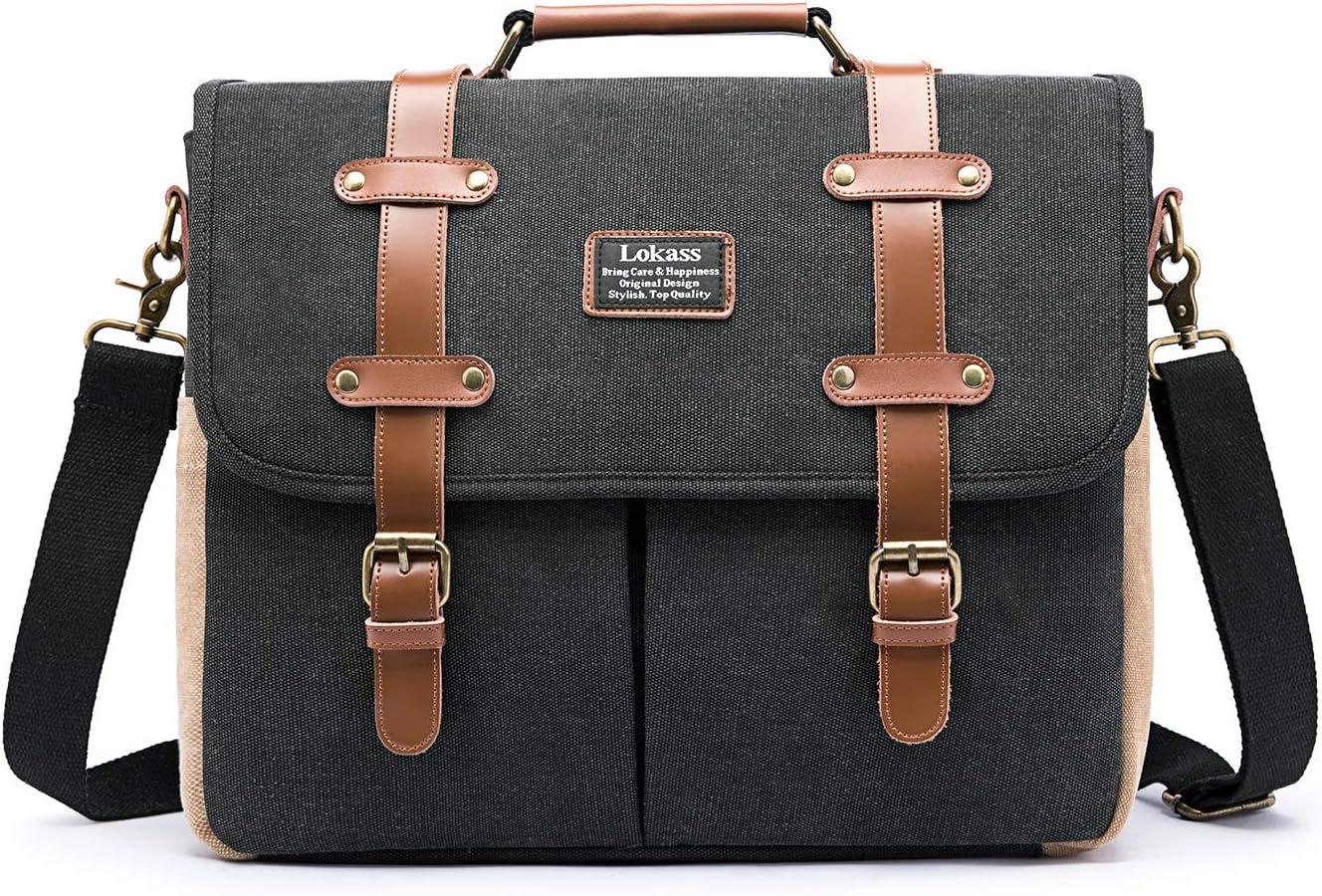 LOKASS Mens Messenger Bag 15.6 Inch Canvas Leather Laptop Bag Shoulder Handbag Business Briefcase Large Vintage Satchel Bookbag Crossbody Bag Computer Bag Case for Men, Work, College, Black