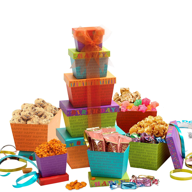 Broadway Basketeers Happy Birthday Celebration Gift Tower : Grocery & Gourmet Food