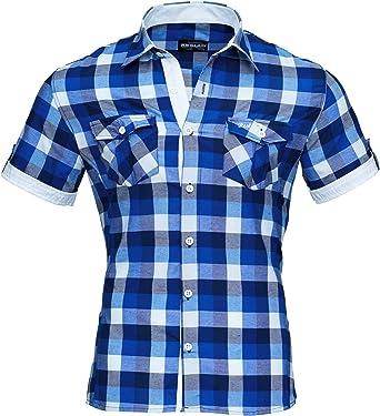 Reslad Hombre camisa de manga corta camisa de cuadros se ajusta a la figura tiempo libre camisa cuadros RS-7065: Amazon.es: Ropa y accesorios