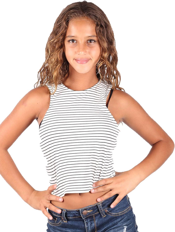 Lori /& Jane Big Girls White Black Stripe Tank Top 8-14
