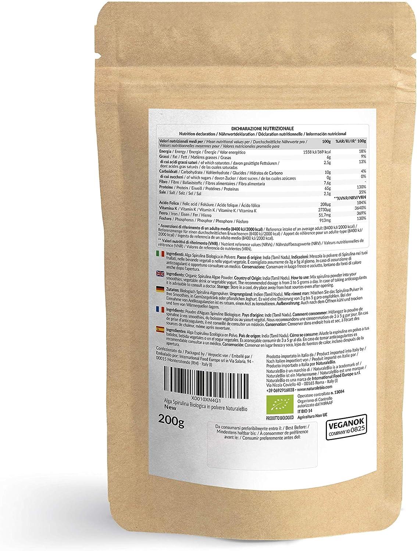 Alga Espirulina Ecológica En Polvo 200g. 100% Orgánica, Natural y Pura, Cultivada en India en Tamil Nadu. Ideal en bebidas y batidos, o recetas. Apto ...