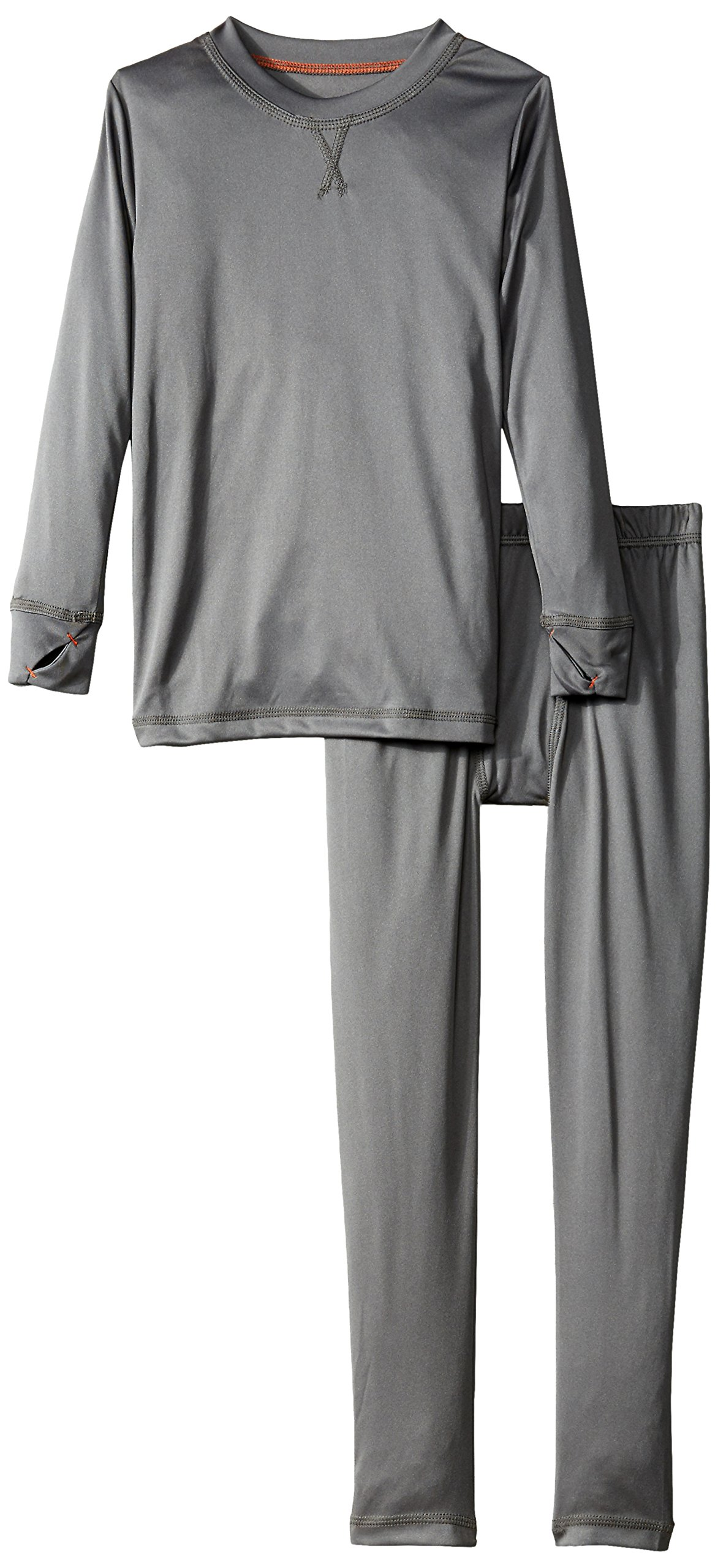 Cuddl Duds Boys' Big Climate Smart Essential Poly Two-Piece Thermal Set, Gray Solid, Small