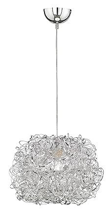 WOFI Pendelleuchte, Metall, E27, 60 W, Silber, 40 x 40 x 150 cm