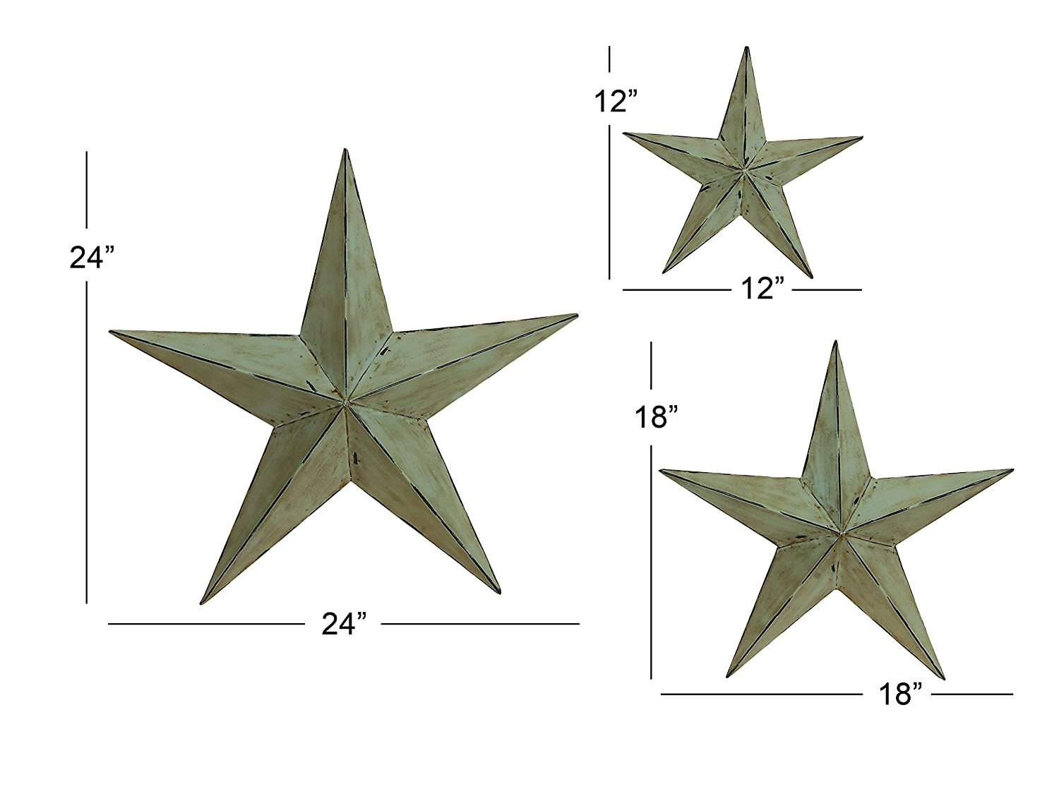 Amazon deco 79 metal wall star 24 inch 18 inch and 12 inch amazon deco 79 metal wall star 24 inch 18 inch and 12 inch set of 3 wall sculptures garden outdoor amipublicfo Gallery
