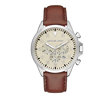 8a69cad7fced Image Unavailable. Image not available for. Color  Michael Kors Silvertone  Stainless Steel Gage Watch ...