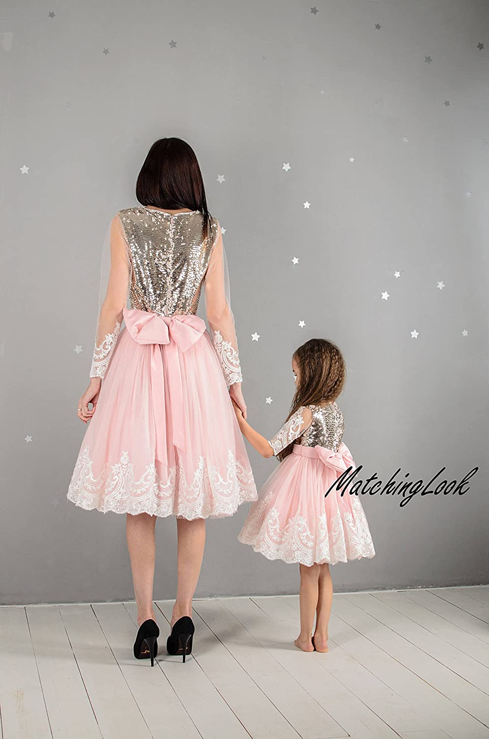 5b09e3f4ab Amazon.com: Pink Mommy and Me dresses Sequin matching dress outfits Mother daughter  matching pink tutu dresses Pink dresses Mom baby birthday dress: ...