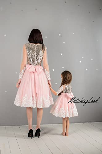 0eacf3225 Amazon.com: Pink Mommy and Me dresses Sequin matching dress outfits Mother  daughter matching pink tutu dresses Pink dresses Mom baby birthday dress:  ...
