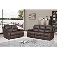 VALENCIA Brown Recliner Leather Sofa Suite 3+2 Seater 12 Months warranty TO ENGLAND WALES