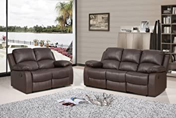 Valencia Brown Recliner Leather Sofa Suite 3 2 Seater 12 Months