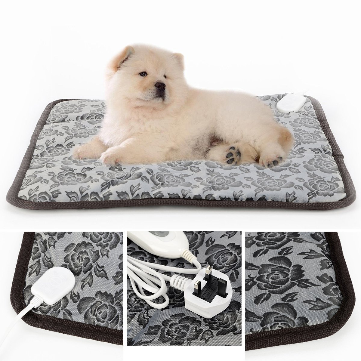 45 HUAYUU Pet Heating Pad 45 CM Electric Heat Pad Waterproof Electric Heating Pad Heater Warmer Mat Bed Blanket Heating Pad Vinyl Pet Whelping Puppy with UK Plug For Dog Cat