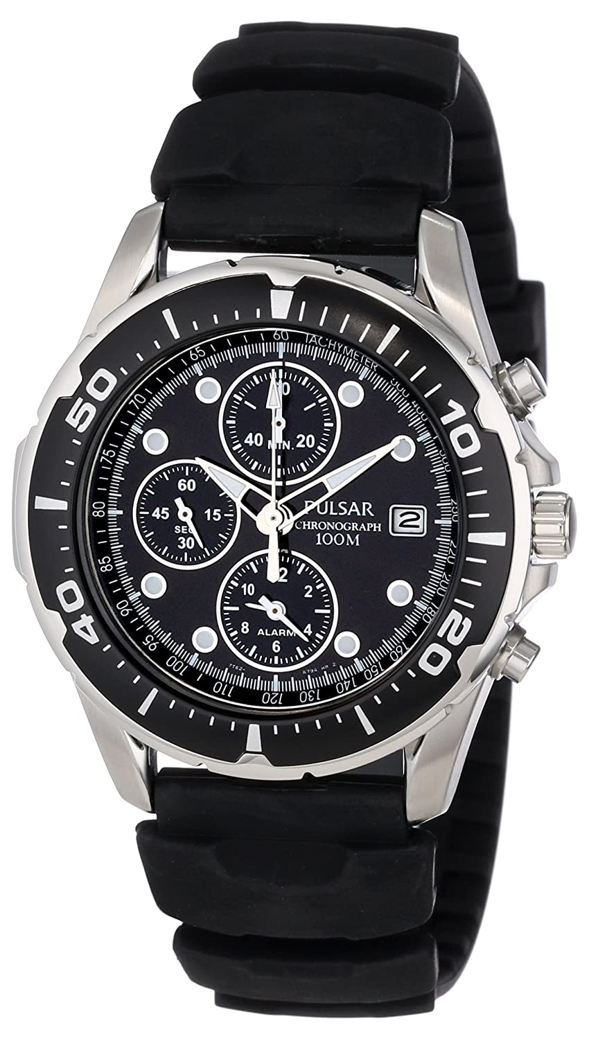 Amazon Pulsar Mens Pf3293 Stainless Steel Watch With Black