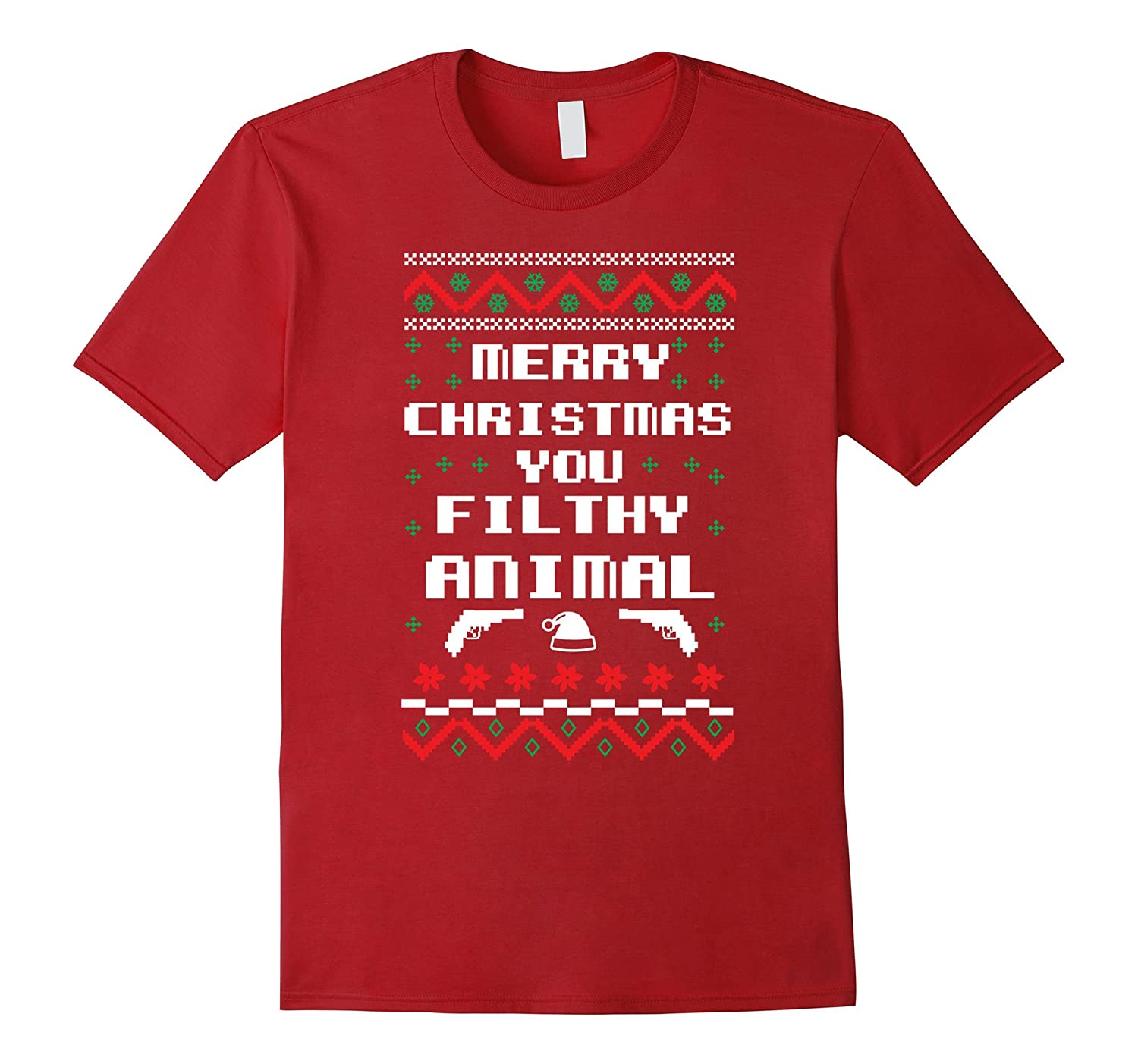 Merry Christmas You Filthy Animals.Merry Christmas You Filthy Animal T Shirt Xmas Holiday Tee Cl