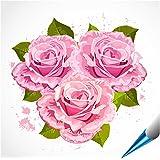 FoLIESEN Fliesenaufkleber für Bad und Küche - 15x15 cm - Motiv Rosenstrauß - 10 Fliesensticker für Wandfliesen