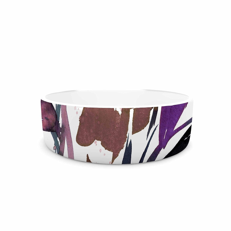 7\ KESS InHouse Ebi Emporium Pocket Full of Posies Brown  Beige White Pet Bowl, 7