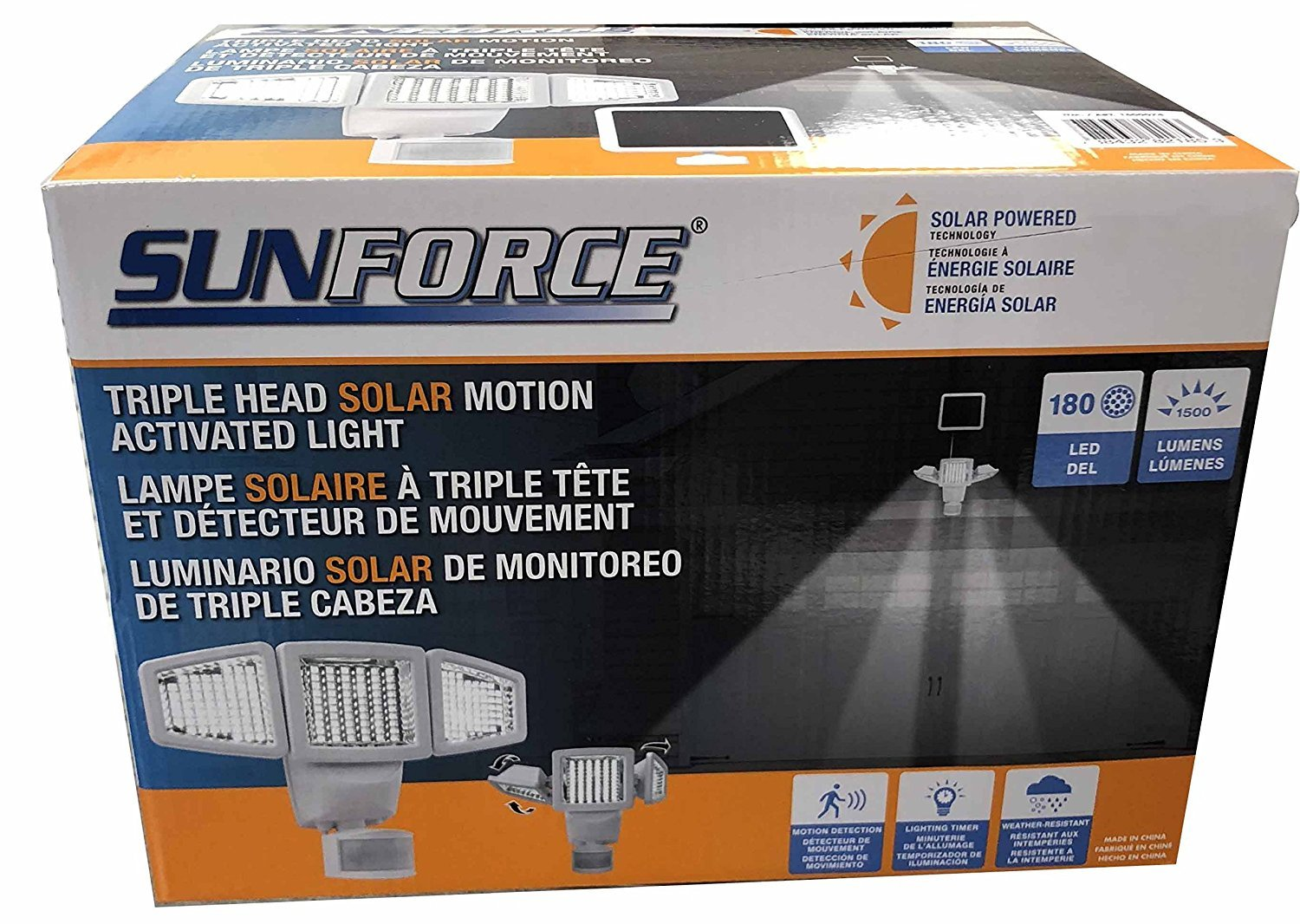 Sunforce Solar Triple Head Motion Activated Security Light 1500 Lumens by Sunforce