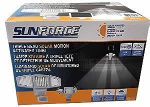 Sunforce Solar Triple Head Motion Activated Security Light 1500 Lumens