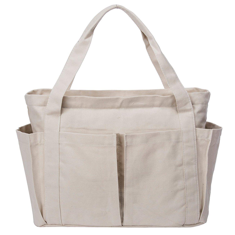 Canvas Shoulder Bag Large Beach Travel Shopper Tote Bag Casual Handbag Carry All Shopping Bag Hobo Style (White)