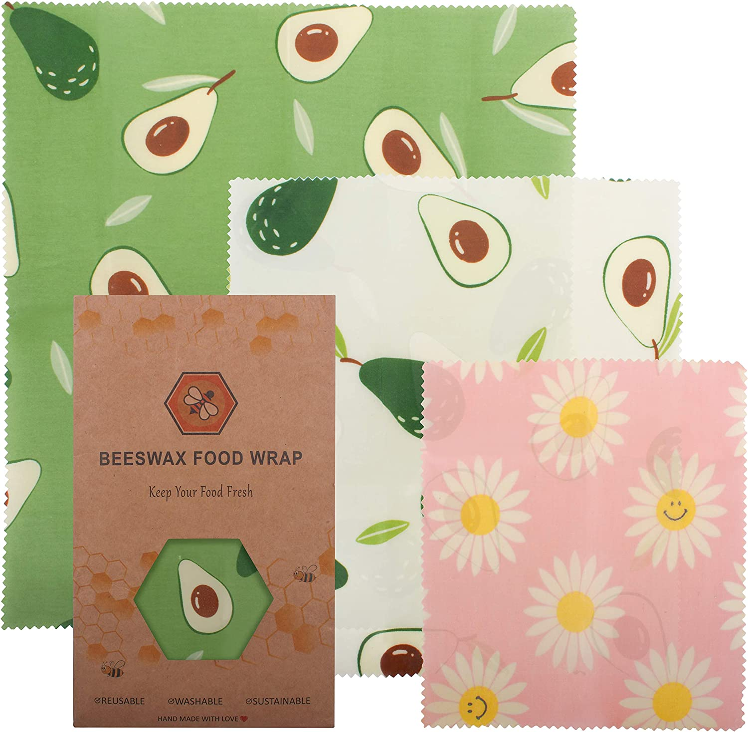 Beeswax Food Wraps 3-Pack Reusable Food Wrap Organic Cotton Handmade Plastic Free Storage - Safe, Sustainable Zero Waste for Lunch, Snacks, Leftovers - Small/Medium/Large