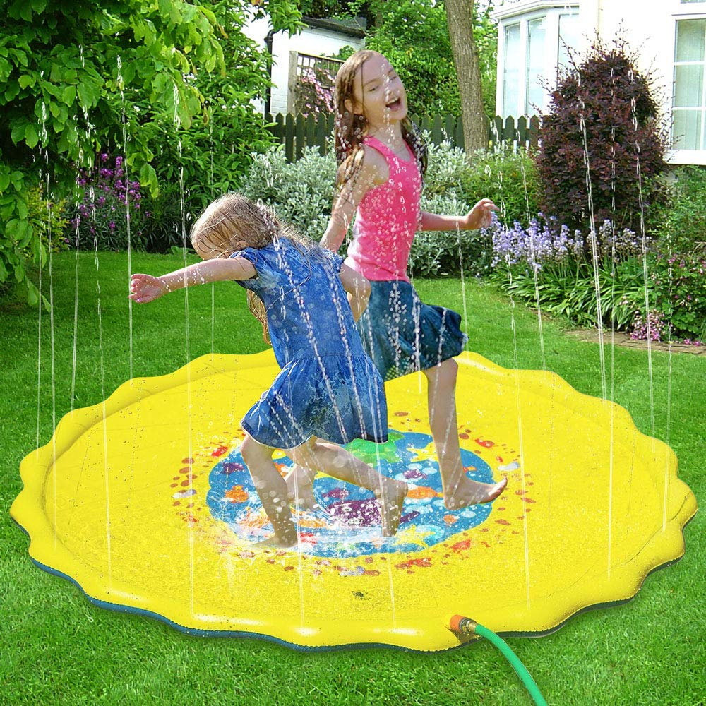 Candywe Splash Pad Kids Toys, 68'' Sprinkle and Splash Play Mat Pad Toy for Children Infants Toddlers Boys Girls and Kids,Water Toys for Summer Fun Backyard Water Play Mat Outside Toys for Kids