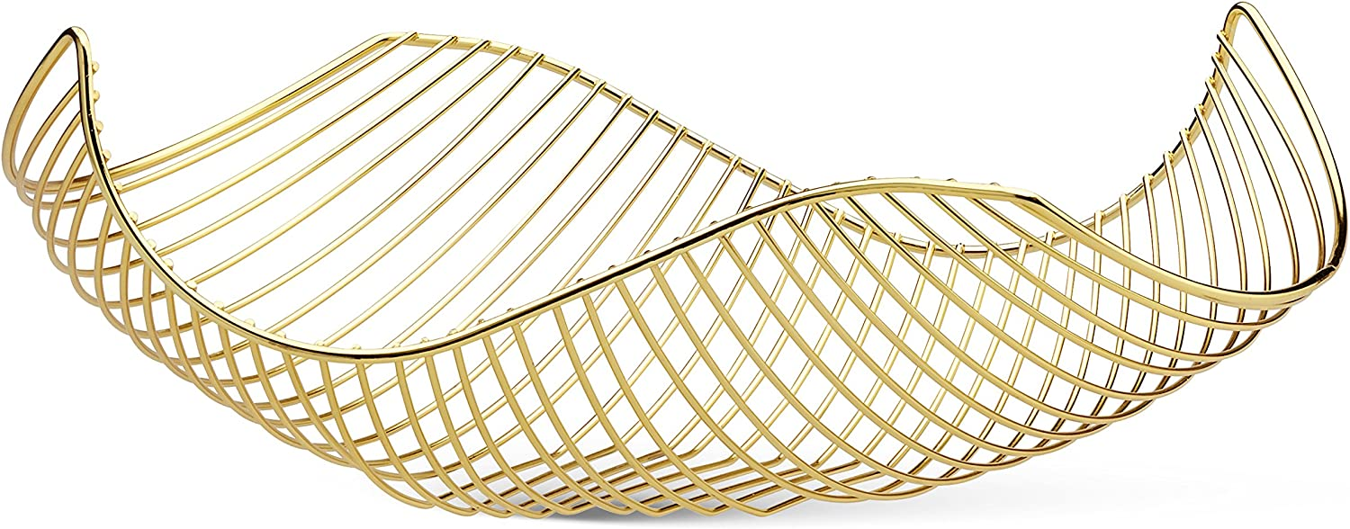 Vistella Fruit Bowl Basket in Shiny Gold - 6 Colors Available - Stainless Steel Wire Design with Modern Styling - Decorative Countertop Centerpiece