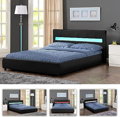 180 x 200 Amore LED cama de lujo blanco acolchado Marco de Cama Doble Cama con somier