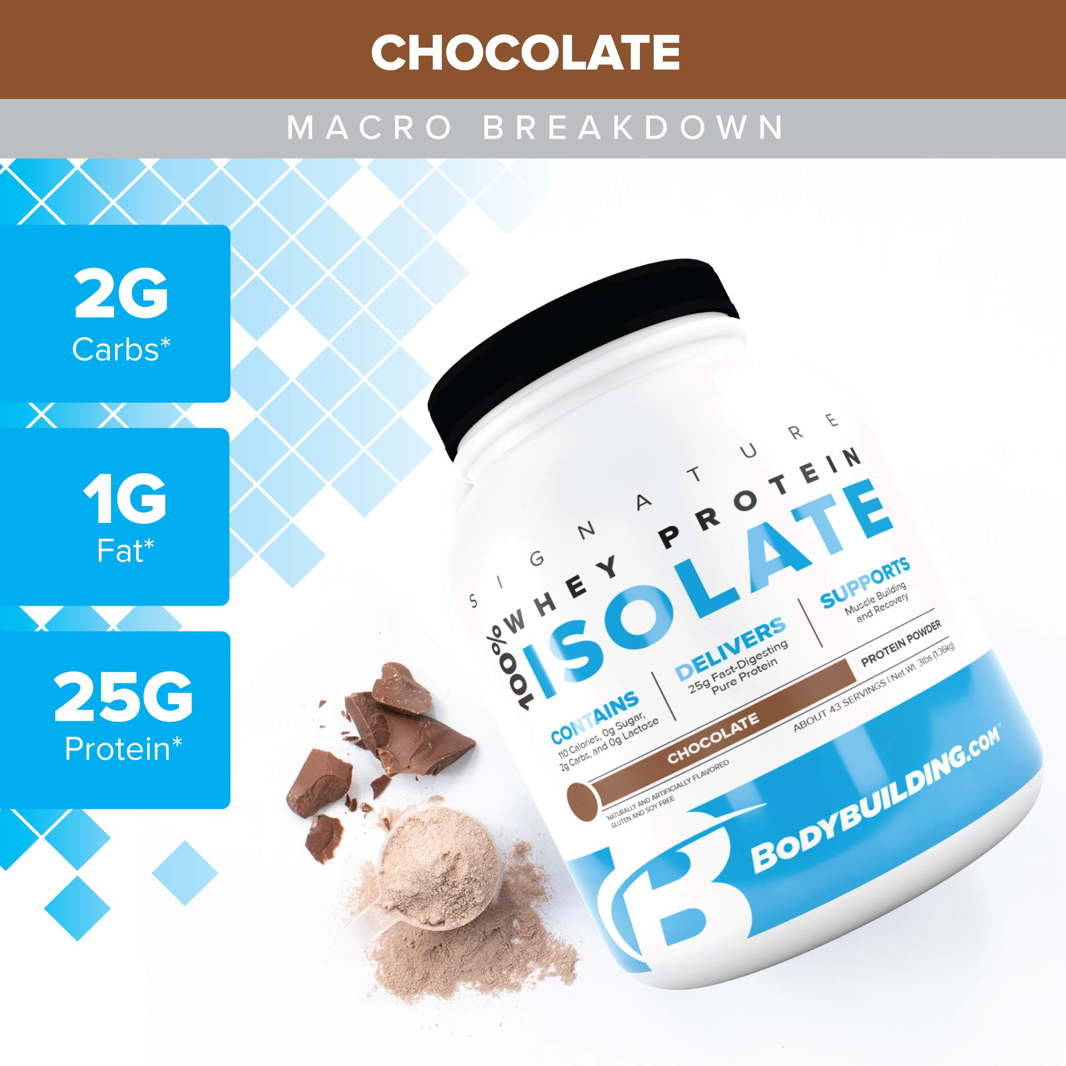 Bodybuilding Signature 100% Whey Protein Powder | Chocolate Isolate | 25g of Protein per Serving | 3 lbs by Bodybuilding.com